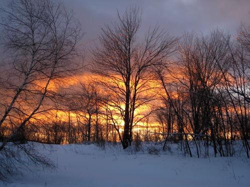 Winter sunset sky
