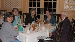 Dinner table at knitters review retreat