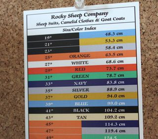 Rocky sheep suit sizes. foxfire fiber
