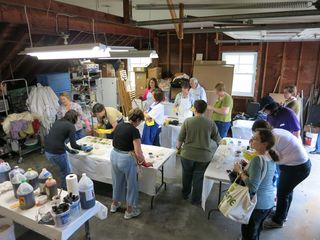 Yarn painting party. Foxfire Fiber & Designs. Barbara Parry. Adventures in Yarn Farming