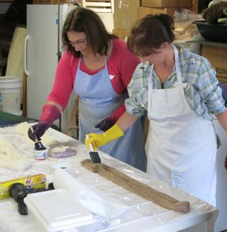 Yarn painters. Foxfire Fiber. Barbara Parry. Adventures in Yarn Farming